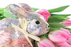 Wielkanoc królika tulipany Zdjęcia Royalty Free