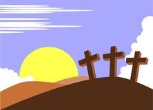 Wielkanoc krzyże na wzgórza tle ilustracja wektor