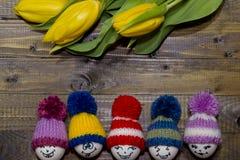 wielkanoc malowaniu jaj Bukiet żółci tulipany Zdjęcia Royalty Free