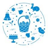 Wielkanoc Simnel zasycha, kosz, jajka, dzwon, kurczątko royalty ilustracja