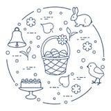 Wielkanoc Simnel zasycha, kosz, jajka, dzwon, kurczątko ilustracji