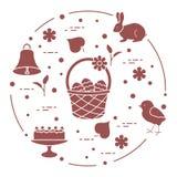 Wielkanoc Simnel zasycha, kosz, jajka, dzwon, kurczątko ilustracja wektor