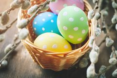 wielkanoc szczęśliwy Gratulacyjny Easter tło wielkanoc jaj kwiaty Zdjęcie Royalty Free