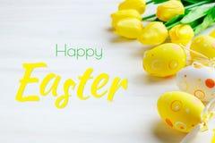 wielkanoc szczęśliwy Gratulacyjny Easter tło wielkanoc jaj kwiaty Fotografia Stock