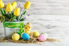 wielkanoc szczęśliwy Gratulacyjny Easter tło laski Wielkanoc jaj Zdjęcie Stock
