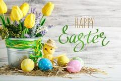 wielkanoc szczęśliwy Gratulacyjny Easter tło laski Wielkanoc jaj Obraz Stock