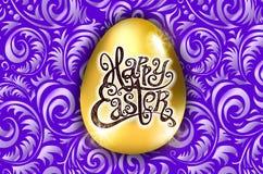 wielkanoc szczęśliwy Kaligrafii literowanie Piękny kartka z pozdrowieniami złoty jajko z abstrakcjonistycznym purpura ornamentem  Obraz Royalty Free