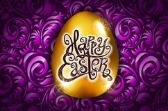 wielkanoc szczęśliwy Kaligrafii literowanie Piękny kartka z pozdrowieniami złoty jajko z abstrakcjonistycznym purpura ornamentem  Fotografia Stock