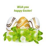 wielkanoc szczęśliwy Kolorowy, paski deseniowali jajka w zielonej trawie, Obraz Royalty Free