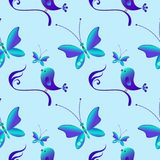 wielkanoc szczęśliwy ptaki deseniują bezszwowego ilustracja wektor