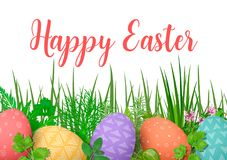wielkanoc szczęśliwy Wielkanocni kolorowi jajka w rzędzie z różnymi prostymi ornamentami biały drewniany tło i kwiecista rama Zdjęcie Stock