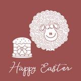 Wielkanoc tort, baranek karcianego koloru Easter jajek ramowego powitania szczęśliwa roślina ilustracji