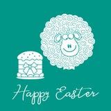 Wielkanoc tort, baranek karcianego koloru Easter jajek ramowego powitania szczęśliwa roślina ilustracja wektor