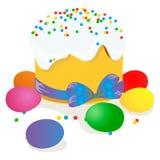 Wielkanoc tort, jajka i wierzb gałązki, malowaliśmy akwarelę Vectorized akwarela rysunek Zdjęcia Royalty Free