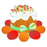 Wielkanoc tort, jajka i wierzb gałązki, malowaliśmy akwarelę Vectorized akwarela rysunek Obraz Royalty Free