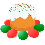 Wielkanoc tort, jajka i wierzb gałązki, malowaliśmy akwarelę Vectorized akwarela rysunek Zdjęcie Stock