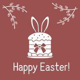 Wielkanoc tort, kr?lik?w ucho, wierzba rozga??zia si? liniowy ilustracja wektor