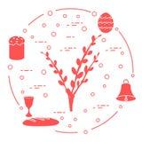 Wielkanoc tort, wierzba rozgałęzia się, dzwon, puchar, jajko royalty ilustracja
