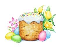 Wielkanoc tort z jajkami i kwiatami Zdjęcia Stock