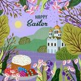 Wielkanoc Wektorowa śliczna ilustracja z natura kościół i krajobrazem ilustracji
