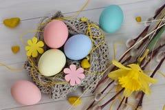 Wielkanoc Wierzba narcyz z jajkami i gałąź Zdjęcie Royalty Free