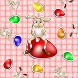Wielkanoc wzór z jajkiem i królikiem nad koszykowym tłem ilustracja wektor