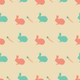 Wielkanoc wzór z królikami i jajkami dla tekstur, opakowanie, pokrywy ilustracja wektor