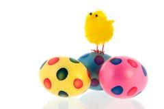 Wielkanoc z jajkami i małym kurczątkiem zdjęcie stock