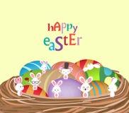 Wielkanoc z koszem jajka i królik śmieszni ilustracja wektor