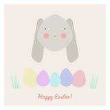 Wielkanoc z królikiem i jajkami Zdjęcie Royalty Free