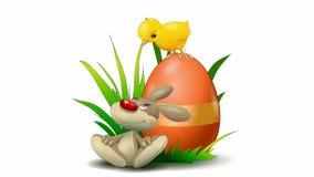 Wielkanocna animacja z królikiem i wielkanoc kurczakiem zbiory