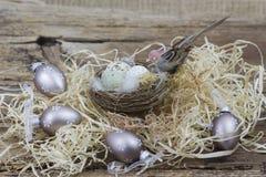 Wielkanocna dekoracja - jajka w gniazdeczku i ptaku zdjęcie royalty free