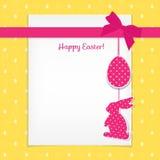 Wielkanocna karta i bezszwowy wzór z jajkami, króliki, ptaki Zdjęcie Royalty Free