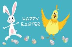 Wielkanocna karta - królik i kurczak Fotografia Stock