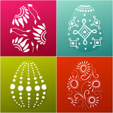 Wielkanocna karta z 4 dekorującymi jajkami Zdjęcia Royalty Free
