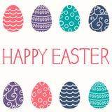 Wielkanocna karta z Easter jajkami na białym tle Fotografia Royalty Free