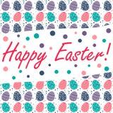 Wielkanocna karta z Easter jajkami na białym tle Zdjęcie Royalty Free