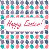 Wielkanocna karta z Easter jajkami na białym tle Obraz Royalty Free