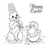 Wielkanocna karta z królikiem i nowonarodzonym kurczakiem Obraz Stock