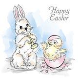 Wielkanocna karta z królikiem i nowonarodzonym kurczakiem Obrazy Stock