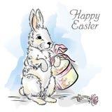 Wielkanocna karta z królikiem z pudełkiem i wzrastał Zdjęcie Royalty Free