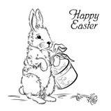Wielkanocna karta z królikiem z pudełkiem i wzrastał Zdjęcia Royalty Free