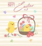 Wielkanocna karta z kurczakami i koszem z jajkami Fotografia Stock