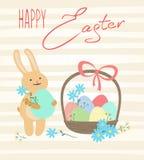Wielkanocna karta z ślicznym królikiem i jajkami Zdjęcie Stock