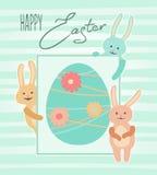Wielkanocna karta z ślicznymi królikami Obraz Royalty Free