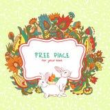 Wielkanocna karta z ptakiem i królikiem Fotografia Stock