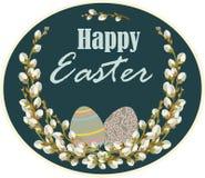 Wielkanocna karta z wierzbą kapuje przeciw ciemnemu tłu również zwrócić corel ilustracji wektora royalty ilustracja