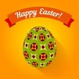 Wielkanocna karta z wzorzystym jajkiem i sztandarem Fotografia Stock