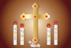 Wielkanocna kartka z pozdrowieniami z płonącą świeczką ilustracja wektor