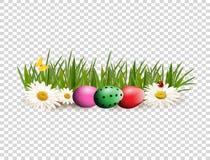 Wielkanocna klamerki sztuka dla kartka z pozdrowieniami z farbującymi jajkami kłama na gras ilustracja wektor